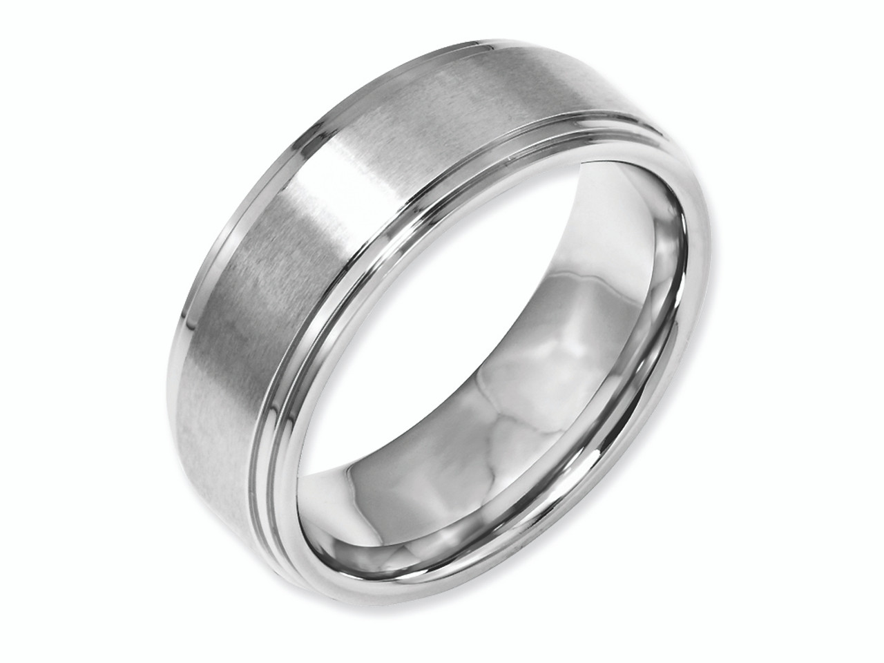 Stainless Steel Ridged Edge 8mm Brushed and Polished Band