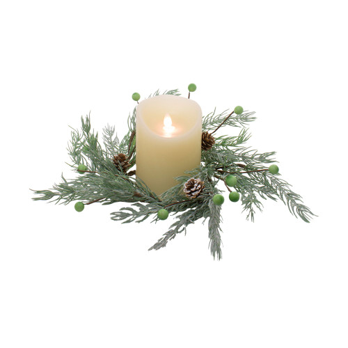 Set of 4 Spruce and Green Berry Candle Ring