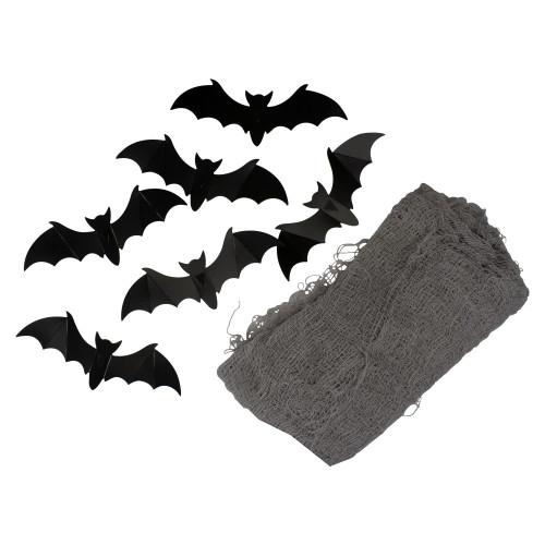 9.75' Gray Gauze and Bats Halloween Decoration Kit