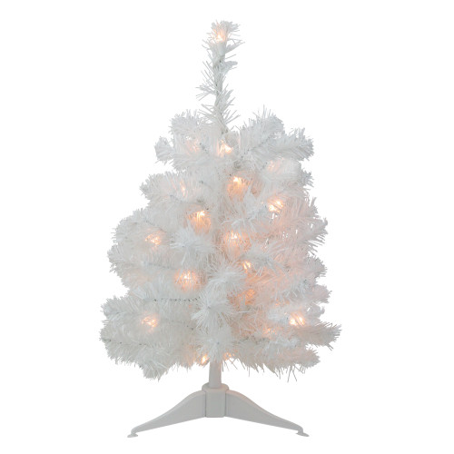 "18"" Pre-Lit Medium Snow White Artificial Christmas Tree - Clear Lights"