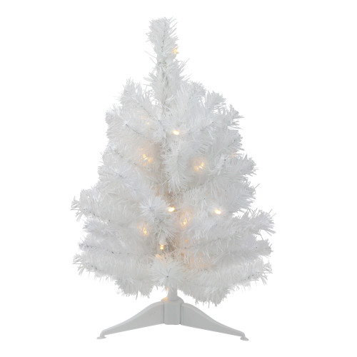 1.5' Pre-Lit Snow White Pine Artificial Christmas Tree - Clear LED Lights