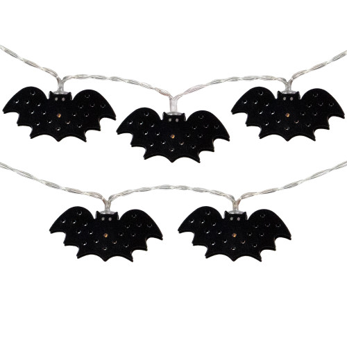 10-Count Warm White LED Halloween Bat Fairy Lights, 4.25' Copper Wire