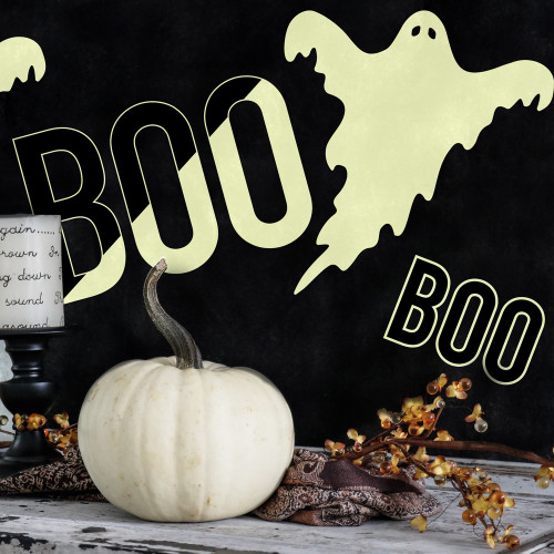 Glowing Ghosts Glow-In-The-Dark Peel and Stick Halloween Decals