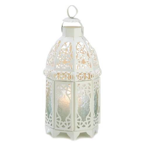 "10.5"" White Lattice Moroccan Style Hanging Candle Lantern"