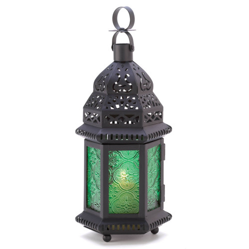 """8.25"""" Black and Green Moroccan Hanging Candle Lantern"""