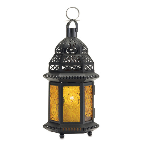 """12"""" Yellow and Black Moroccan Hanging Candle Lantern"""