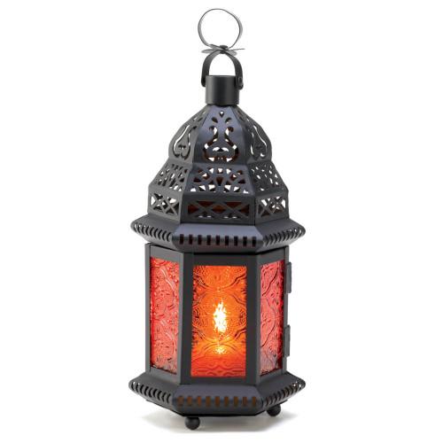 "8.6"" Charcoal Black Moroccan Hanging Candle Lantern"