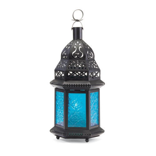"""8.5"""" Blue and Black Moroccan Hanging Candle Lantern"""
