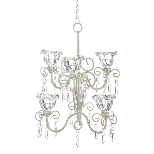 """12.25"""" Clear and White Crystal Blooms Double Candle Chandelier"""