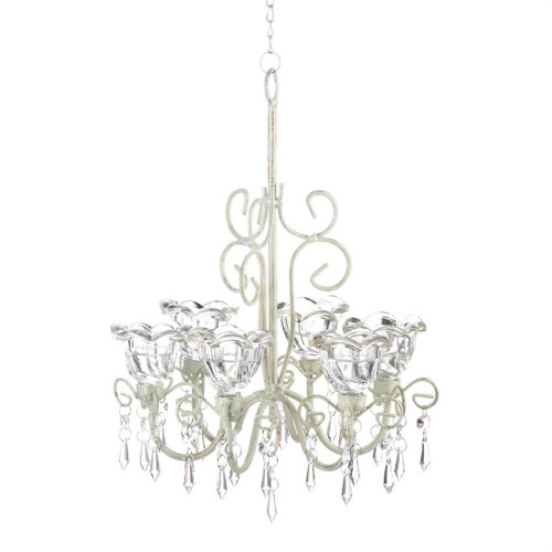 """12.25"""" Clear and White Crystal Blooms Candle Chandelier"""