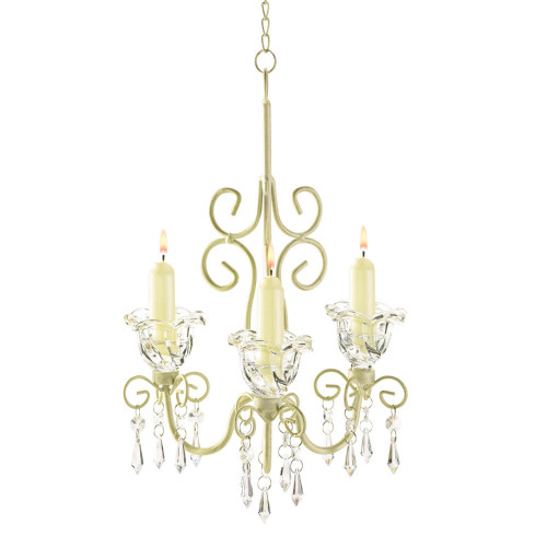 """12.25"""" Gold and Clear Scrollwork Candle Holder Chandelier"""