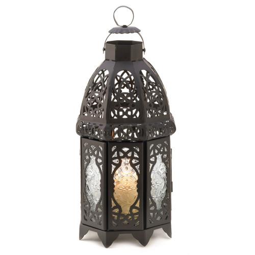 "10.5"" Black Lattice Moroccan Style Hanging Candle Lantern"