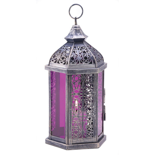 """10.5"""" Silver and Purple Enchanted Candle Lantern"""
