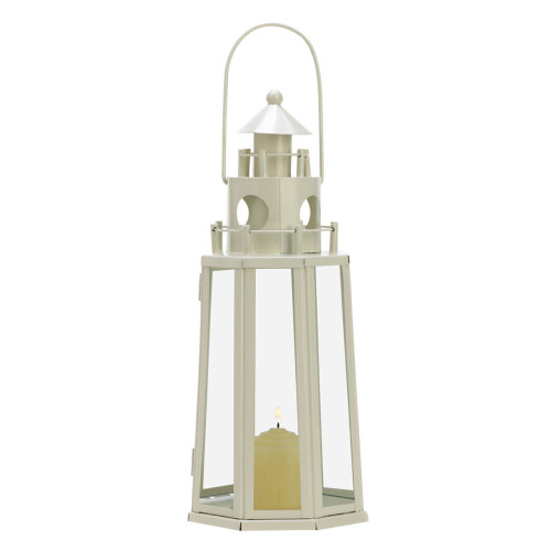"""12.25"""" Ivory and Clear Lighthouse Hanging Candle Lantern"""