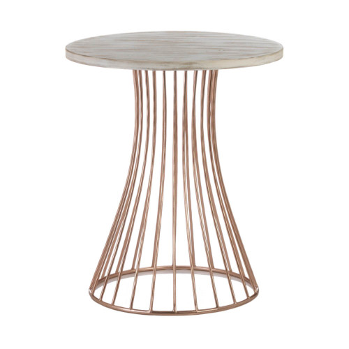 """18.25"""" Rose Gold and White Distressed Round Side Table"""