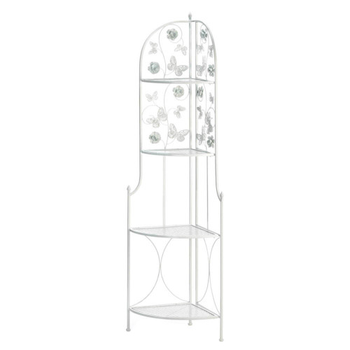 """58"""" White Contemporary Butterfly 4-Tier Corner Rack"""