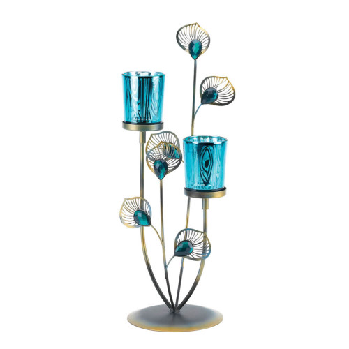 """14.5"""" Blue and Silver Peacock Plume Candle Holder"""