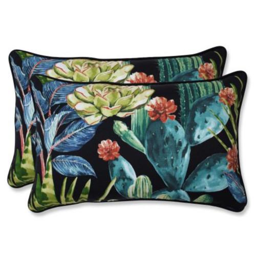 "Set of 2 Black and Blue Tropical UV Resistant Outdoor Patio Rectangular Throw Pillows 18.5"""