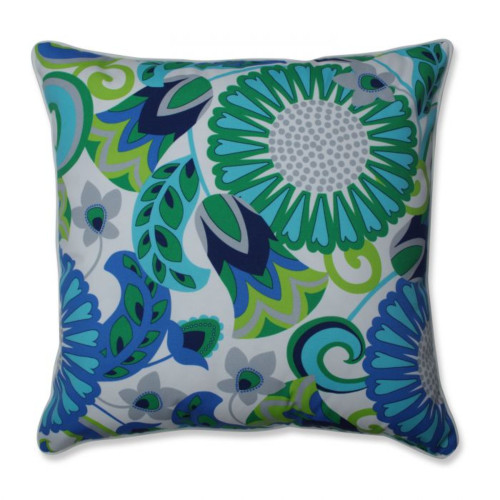 """25"""" Green and Blue Floral UV Resistant Outdoor Patio Square Floor Pillow"""