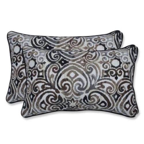 "Set of 2 Black and Brown Contemporary UV Resistant Outdoor Patio Lumbar Throw Pillows 18.5"""