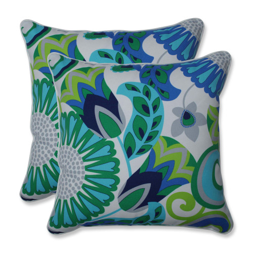 """Set of 2 Teal Blue and Green Floral Motif UV Resistant Outdoor Patio Throw Pillows 18.5"""""""