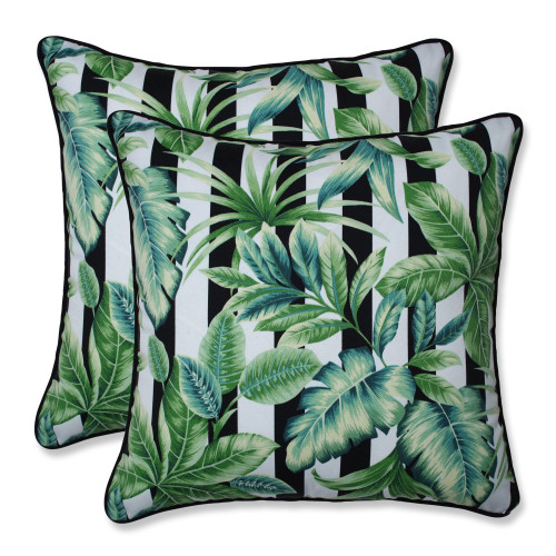 """Set of 2 Green and White Palm Leaf UV Resistant Outdoor Patio Square Throw Pillows 18.5"""""""