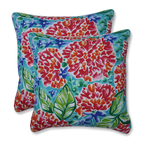 """Set of 2 Pink and Blue Floral UV Resistant Outdoor Patio Throw Pillows 16.5"""""""