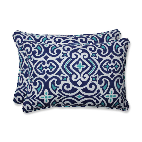 "Set of 2 Damask Marine Blue Rectangular Outdoor Corded Throw Pillows 24.5"""