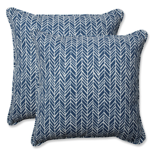 """18"""" Simplistic Nature Inky Blue and Pearly Corded Decorative Throw Pillow"""