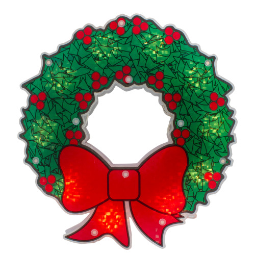 """11"""" Green and Red Lighted Wreath Christmas Window Silhouette Decoration"""