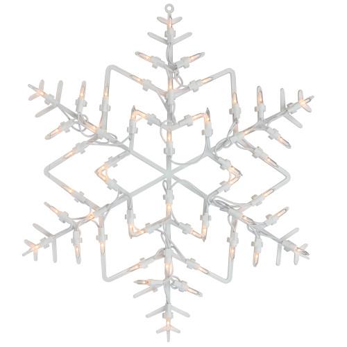 "16"" White Lighted Snowflake Christmas Window Silhouette Decoration"