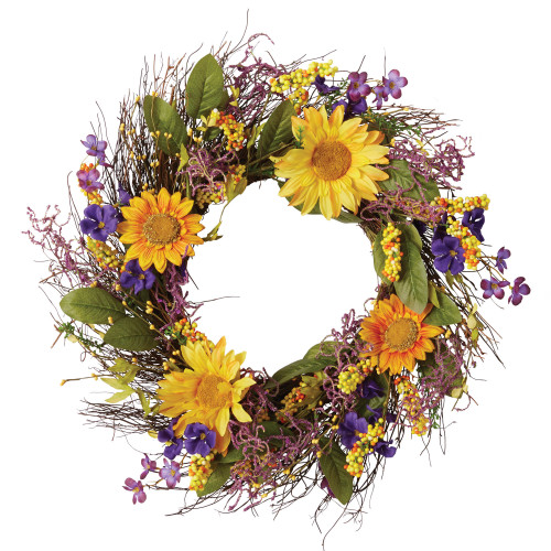 """20.5"""" Yellow, Green, and Purple Home Decor Collections DII Sunflower Wreath"""