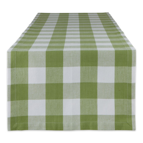 """14"""" x 72"""" Olive Green and White Rectangular Home and Kitchen Essentials Antique Buffalo Checkered Table Runner"""