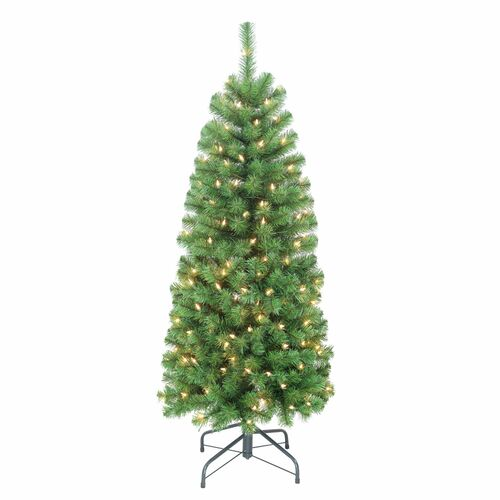 4.5' Pre-Lit Pencil Northern Fir Artificial Christmas Tree, Clear Lights