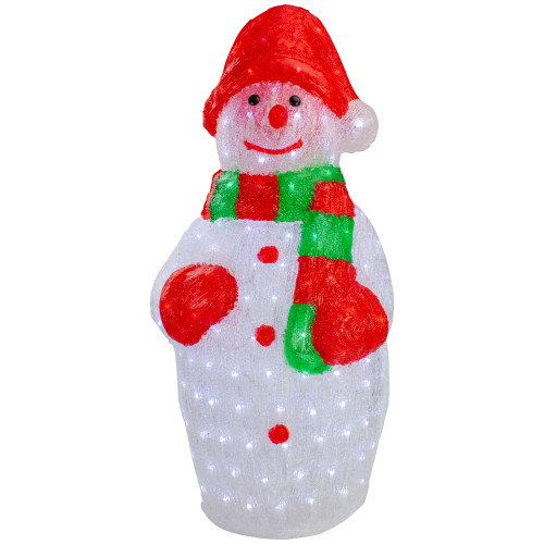 """34"""" Lighted Commercial Grade Acrylic Snowman Christmas Display Decoration"""