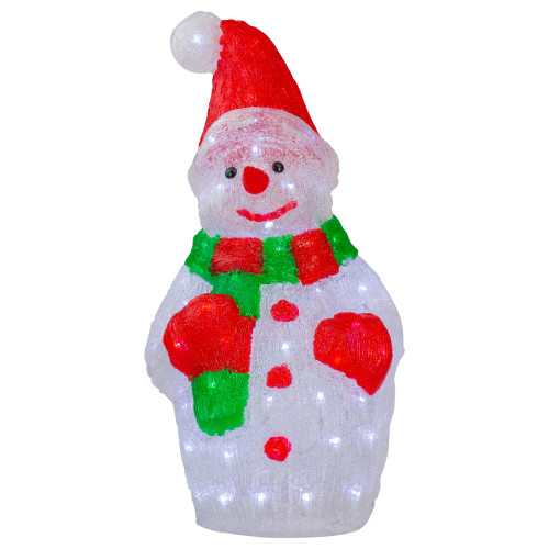 """25"""" Lighted Commercial Grade Acrylic Christmas Snowman Display Decoration"""
