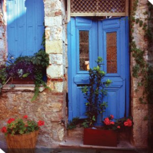 """White and Blue Mediterranean Door Outdoor Canvas Square Wall Art Decor 24"""" x 24"""""""
