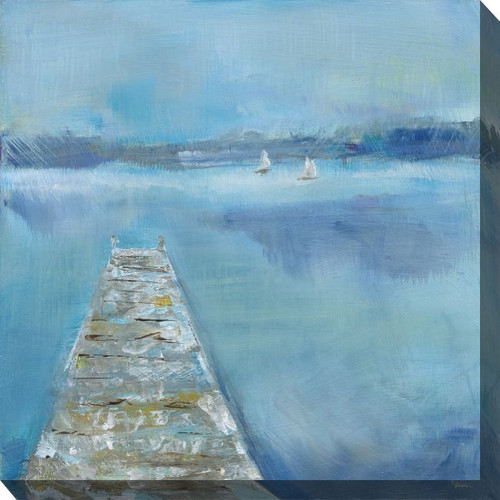 """Blue and White Shaky Dock Outdoor Canvas Square Wall Art Decor 24"""" x 24"""""""