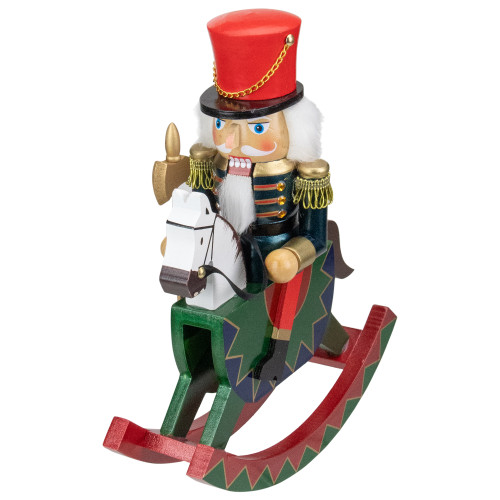 11.5 Red and Blue Christmas Nutcracker Soldier on Rocking Horse
