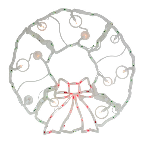 """32"""" Lighted Red and Green Twinkling Wreath Christmas Window Silhouette Decoration"""