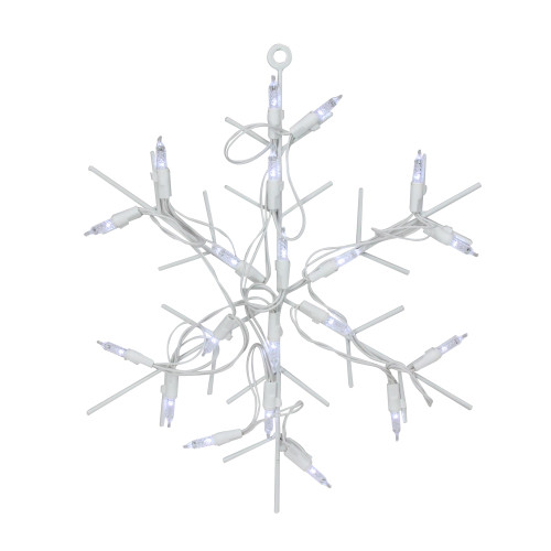 """13"""" White and Clear LED Lighted Snowflake Christmas Window Silhouette Decoration"""