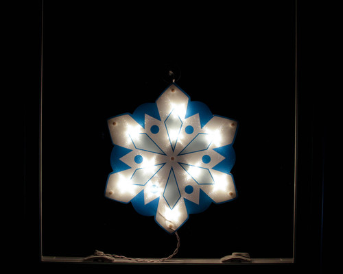 """14"""" Lighted White and Blue Holographic Snowflake Christmas Window Silhouette Decoration"""