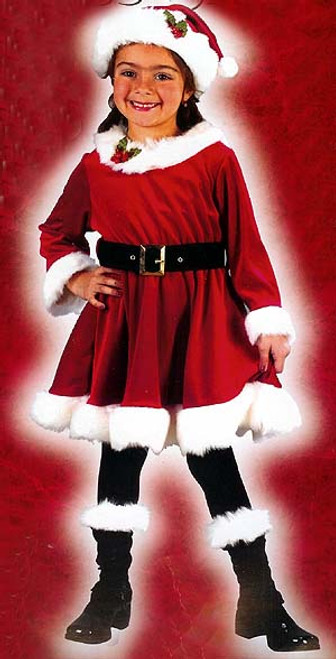 Red and White Little Miss Santa Girl Child Christmas Costume - Small