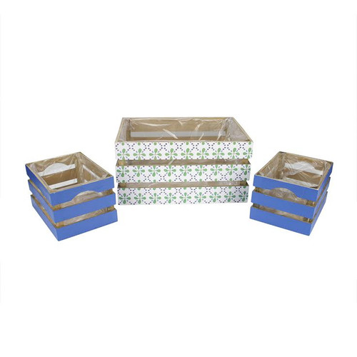 """Set of 3 French Countryside Green Rectangular Wooden Decorative Storage Box Nesting Crates 13.5"""""""
