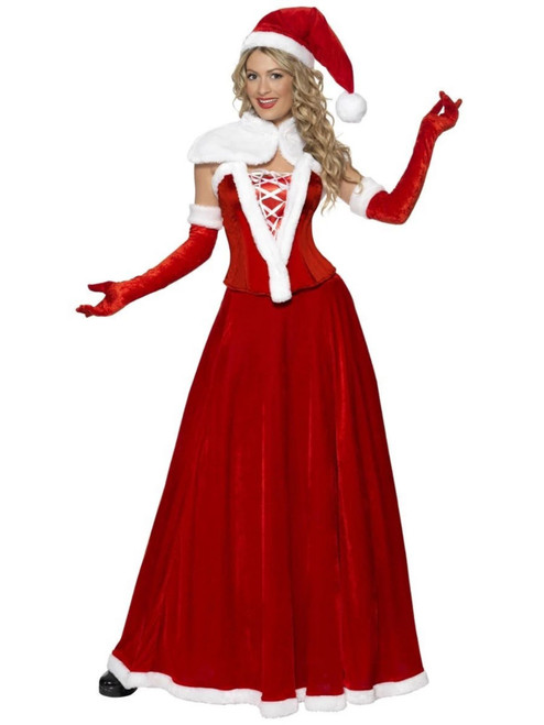 """40"""" Red and White Miss Santa Women Adult Christmas Costume - Small"""