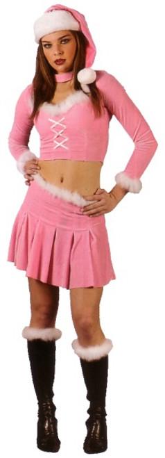 Pink and White Santa's Little Helper Women Adult Christmas Costume - Medium