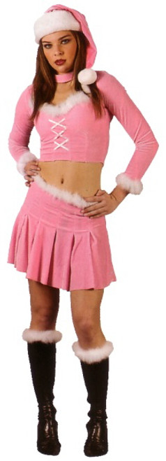 Pink and White Santa's Little Helper Women Adult Christmas Costume - Large
