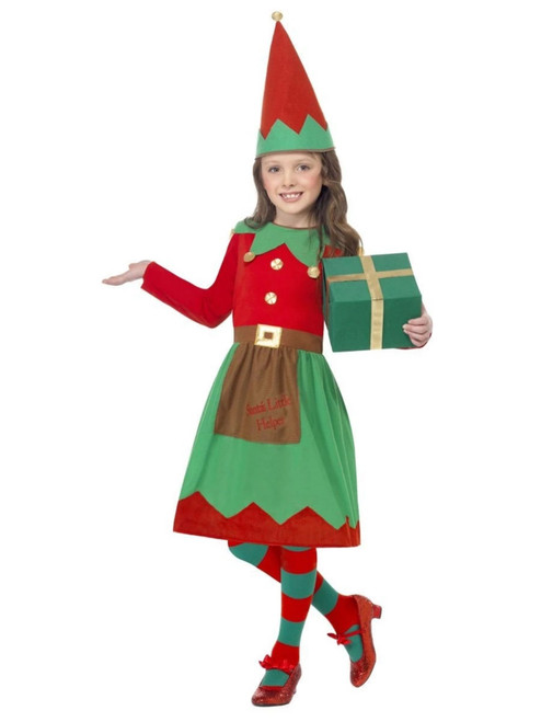 "49"" Red and Green Santa's Little Helper Girl Child Christmas Costume - Medium"