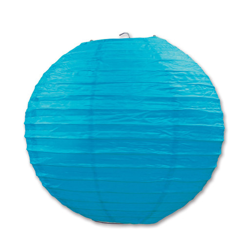 """Club Pack of 18 Festive Bright Teal Hanging Paper Lanterns 9.5"""""""