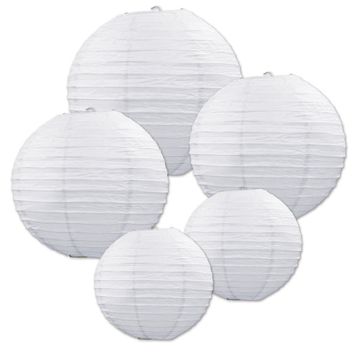 """Club Pack of 30 Assorted White Decorative Classical Paper Lantern Hanging Decorations 9.5"""""""